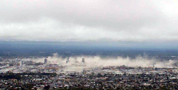 Central City - CBD Skyline Moments After Quake. Feb 22, 2011.