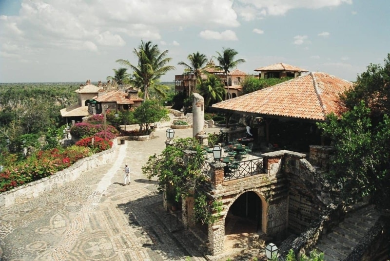 Stone buildings set atop a mountain in the Dominican Republic