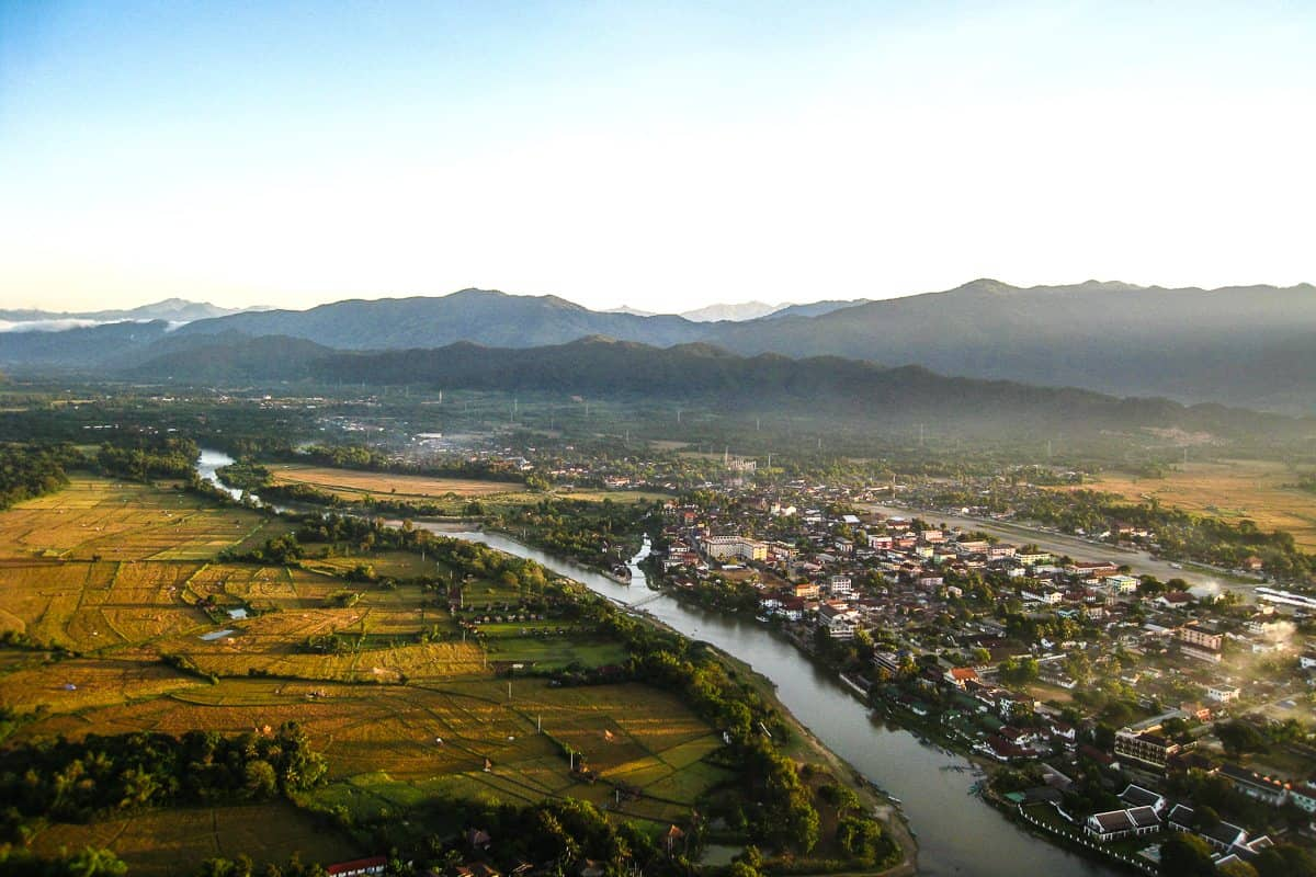 Floating over the Nam Song River in Vang Vieng, Laos