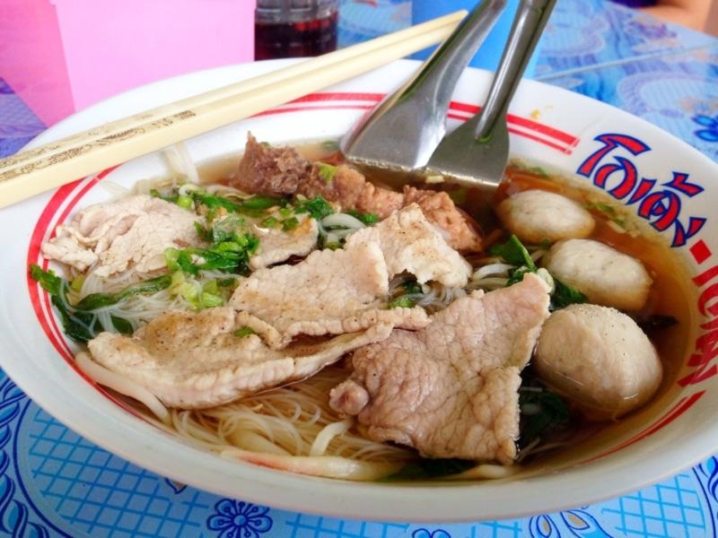 A delicious bowl of Thai noodles.