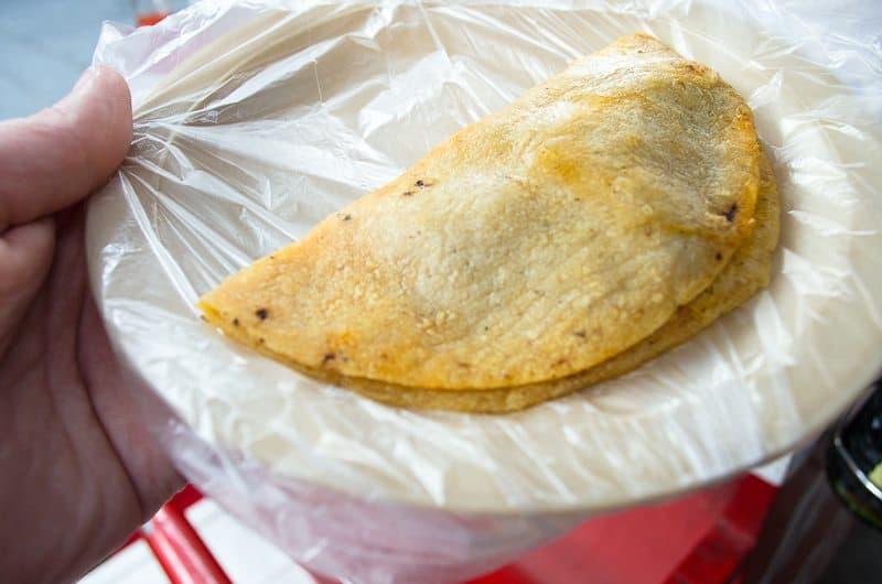 A delicious taco de canasta!