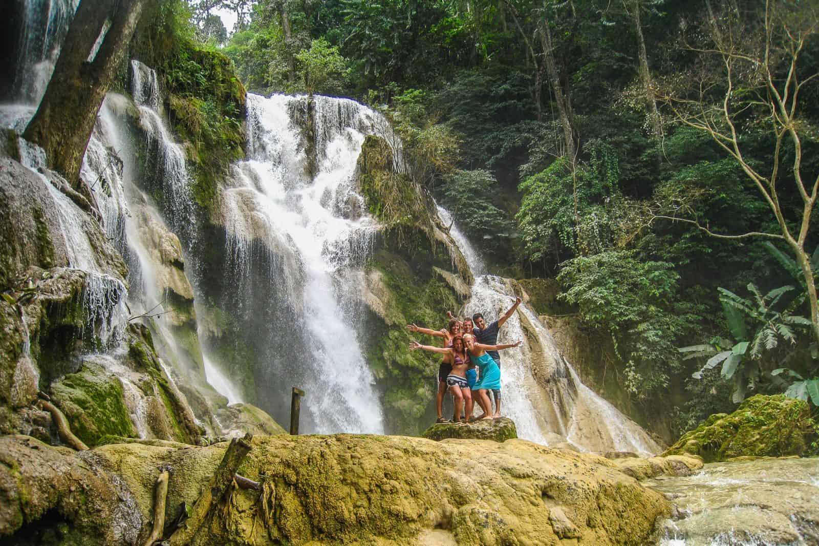 Traveling the world. Kuang Si Falls, Luang Prabang, Laos.