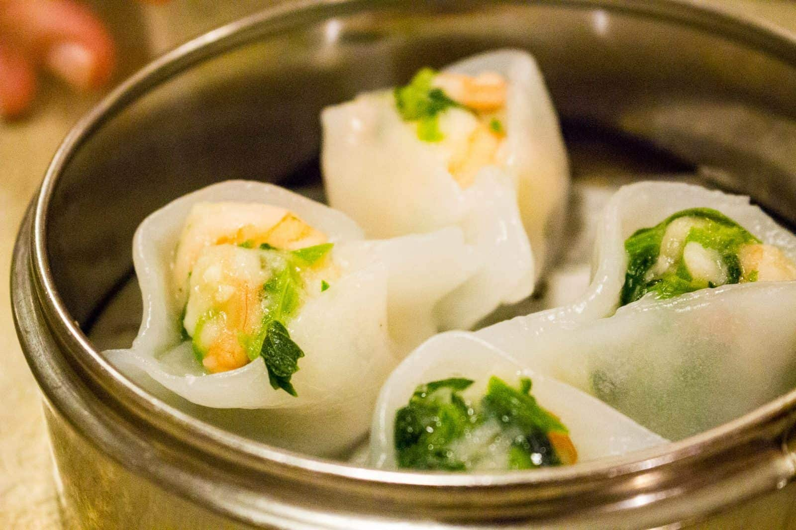 Shrimp and Snow Pea Leaf Dumplings