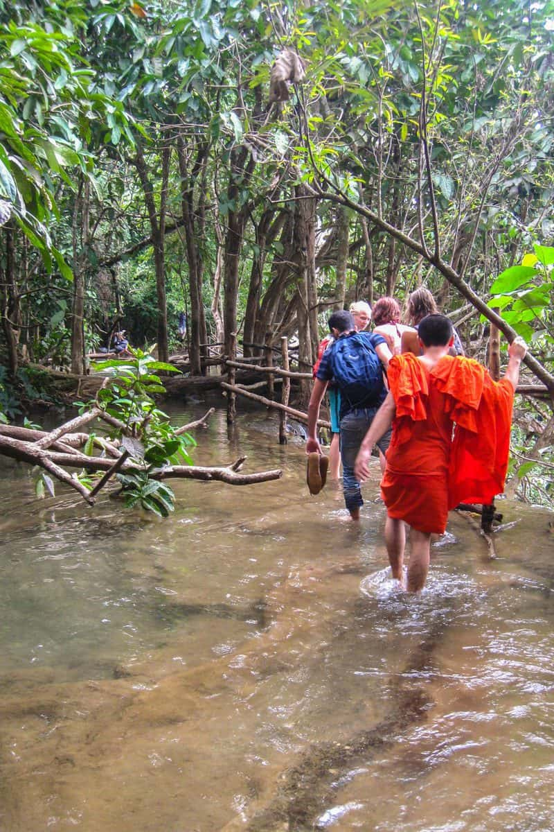 Wading with Monks