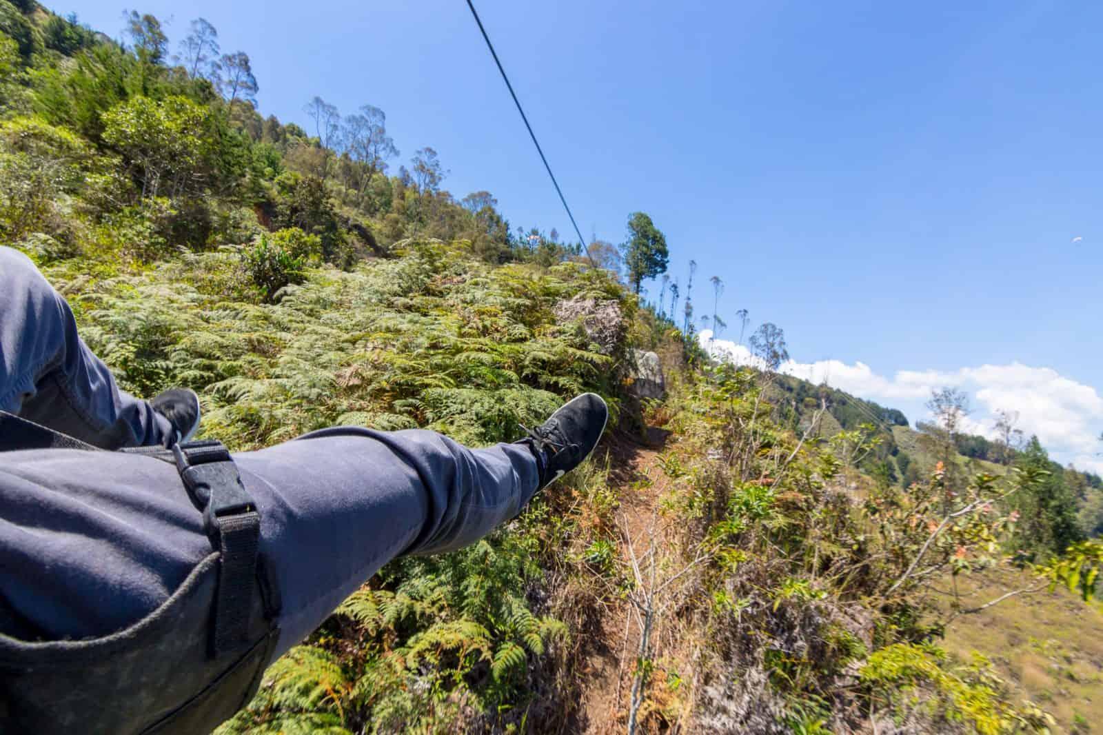 Impromptu zip-lining in Medellin