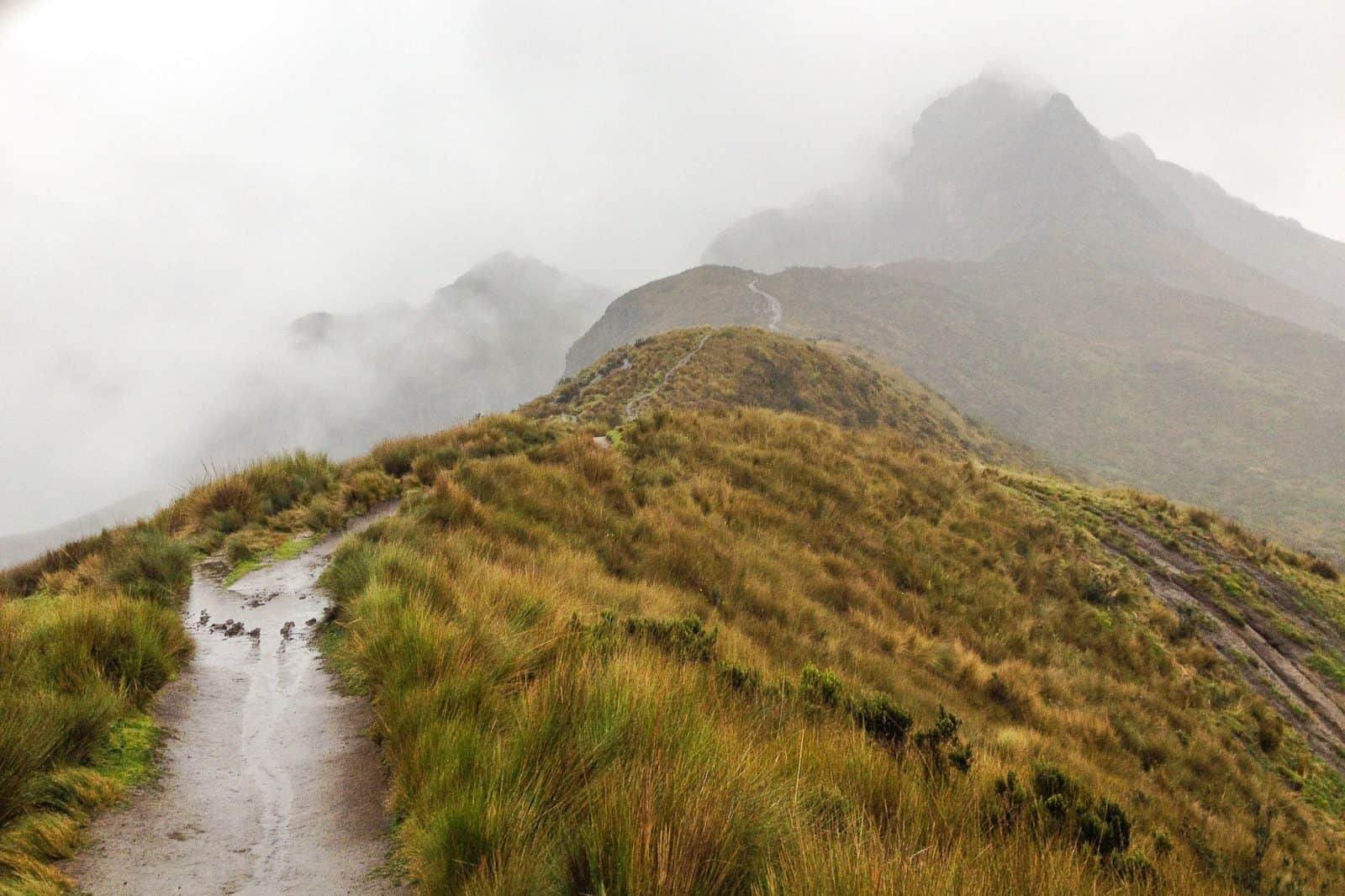 Descending Pichincha in a massive rainstorm