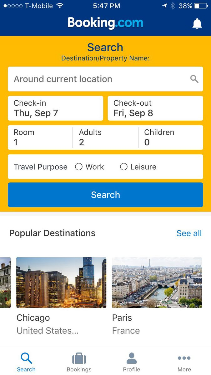 Booking.com has one of the best mobile apps for finding accommodation when traveling