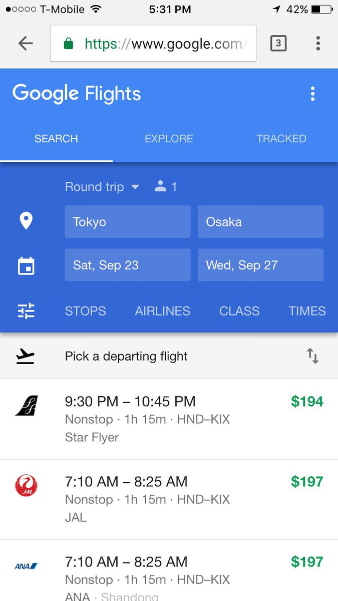 Google Flights doesn't have a mobile app but it has a great mobile interface