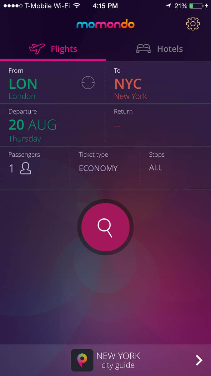 momondo is another one of the best travel apps for booking flights