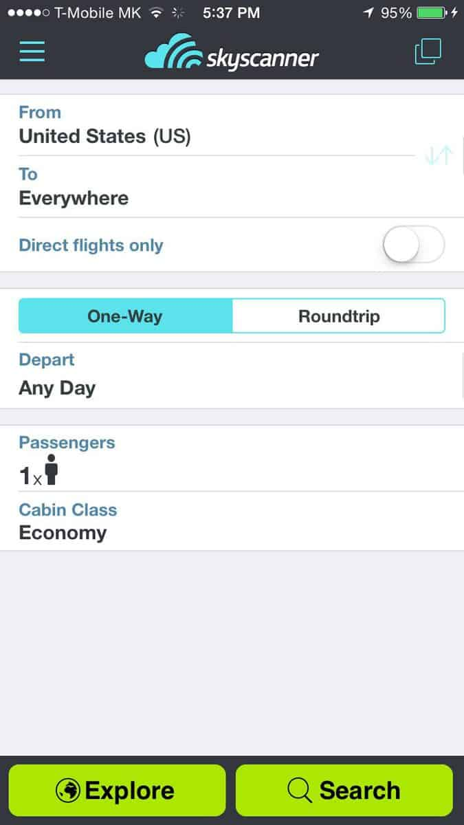 Skyscanner is one of the best travel apps for booking flights