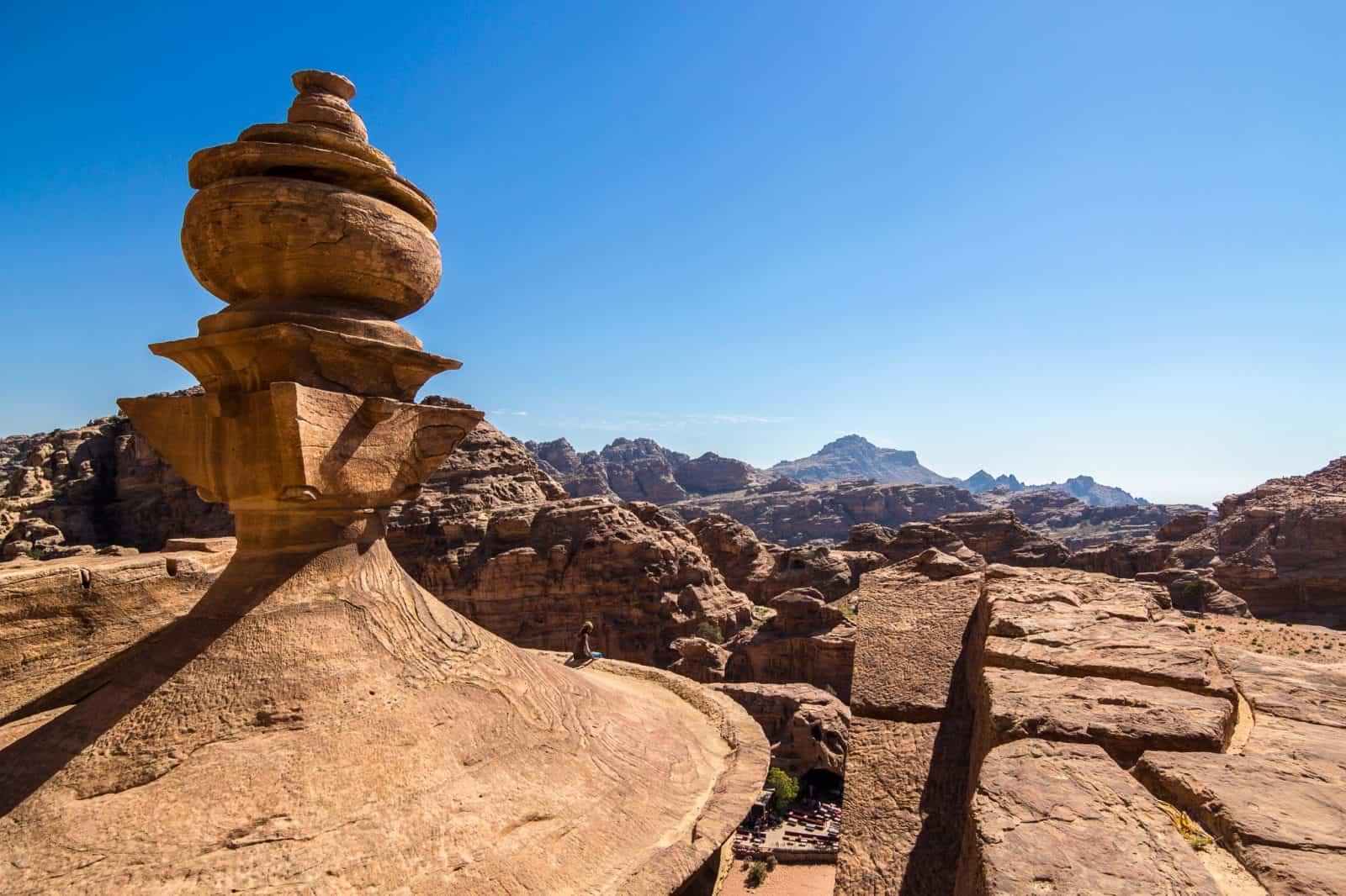 On top of the Monastery in the city of Petra, Jordan