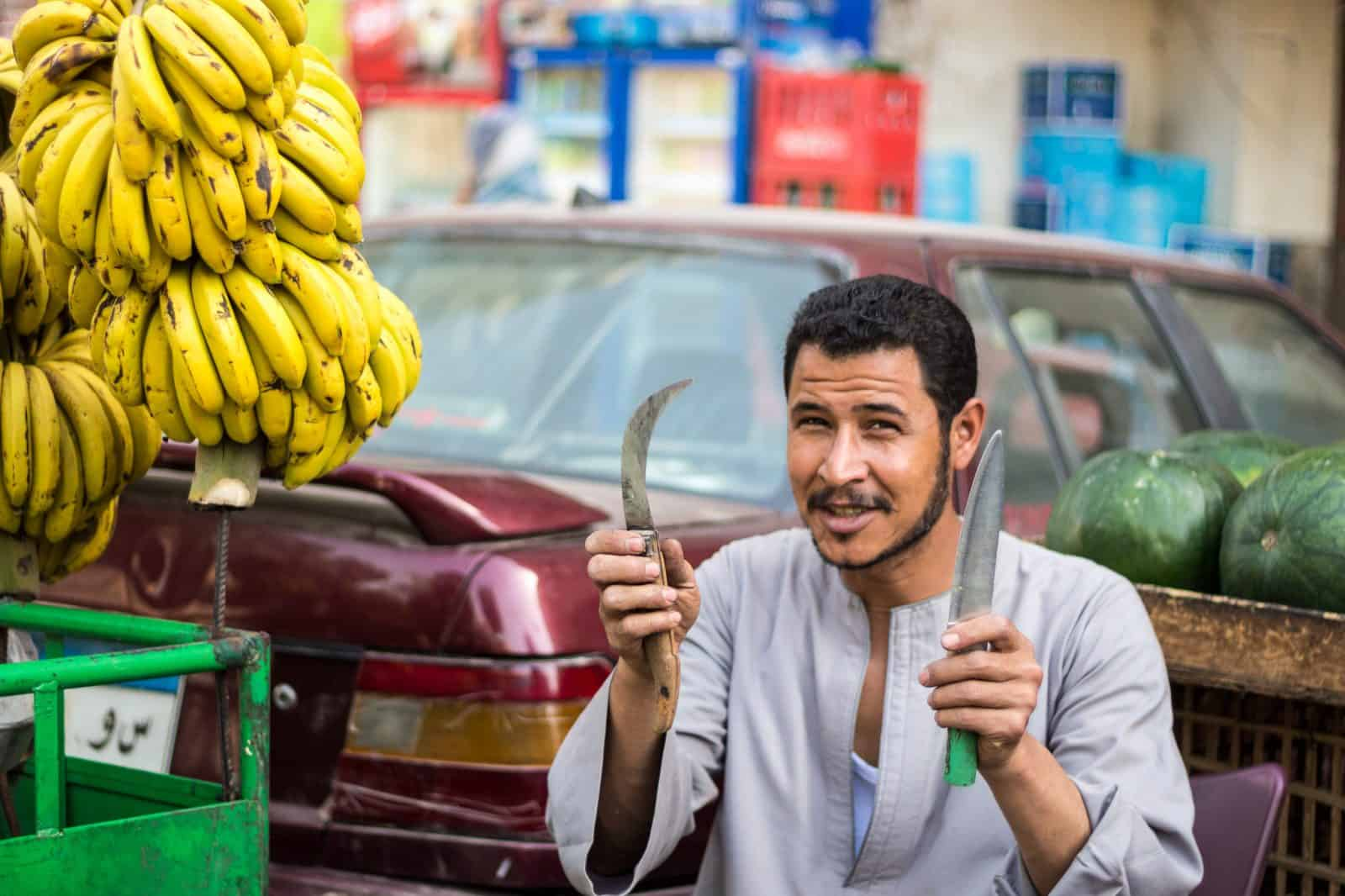 Cheeky banana man in Giza, Egypt. He was all smiles!