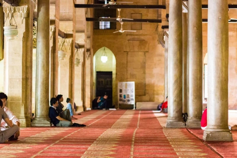 Inside Al-Hussein Mosque, Cairo, Egypt.
