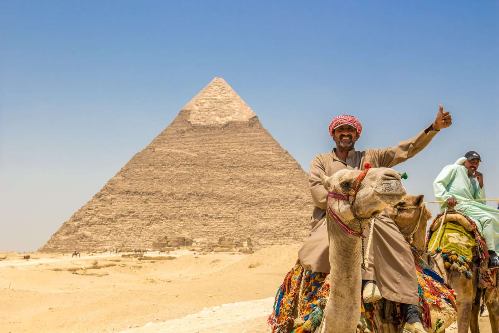 Thumbs up at the Great Pyramids of Giza!