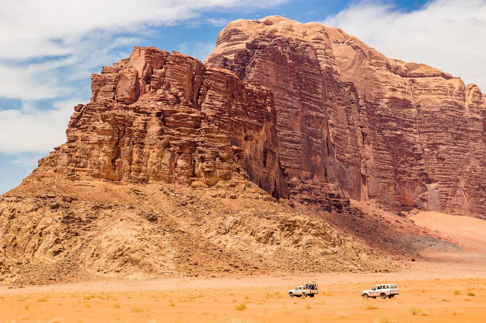 Jeeping in the Jordanian desert. Wadi Rum.