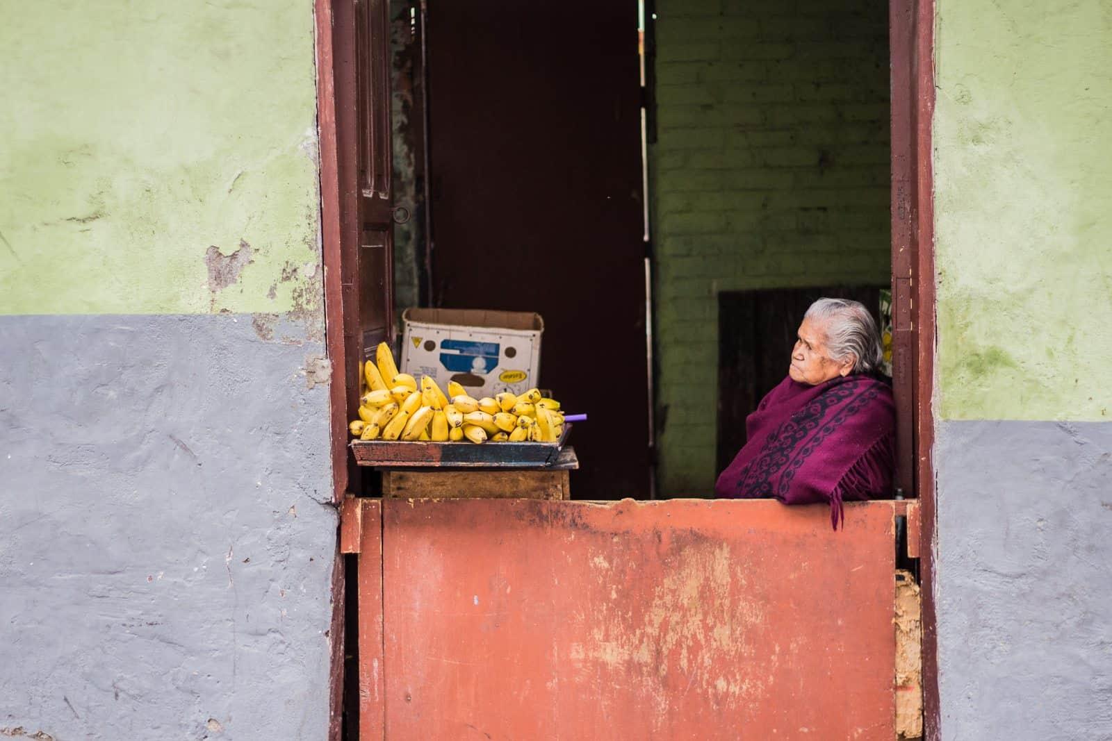 Banana lady in Quito, Ecuador.