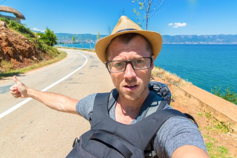 Hitchhiking in Albania with everything I own.