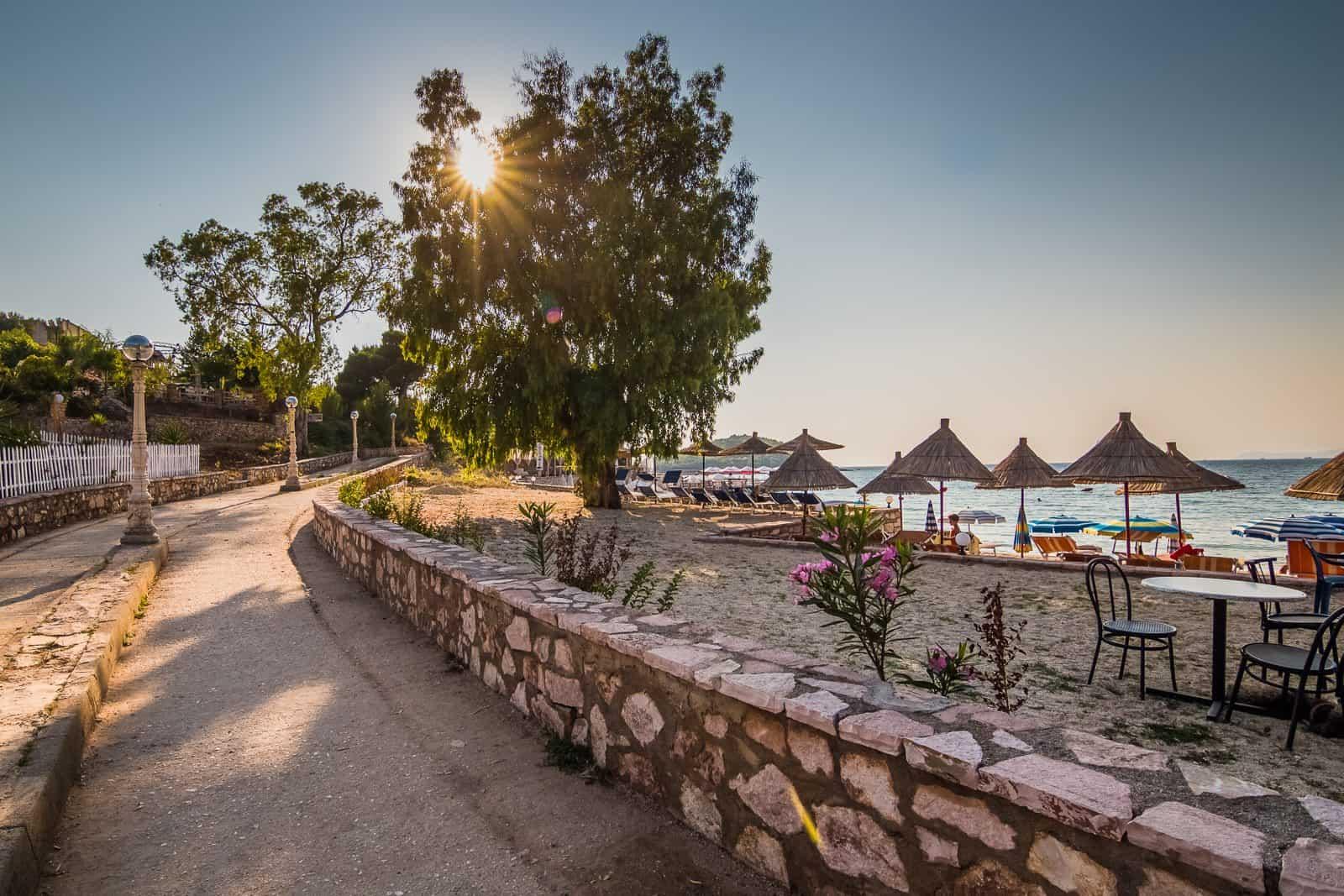 Boardwalk in Ksamil, Albania.