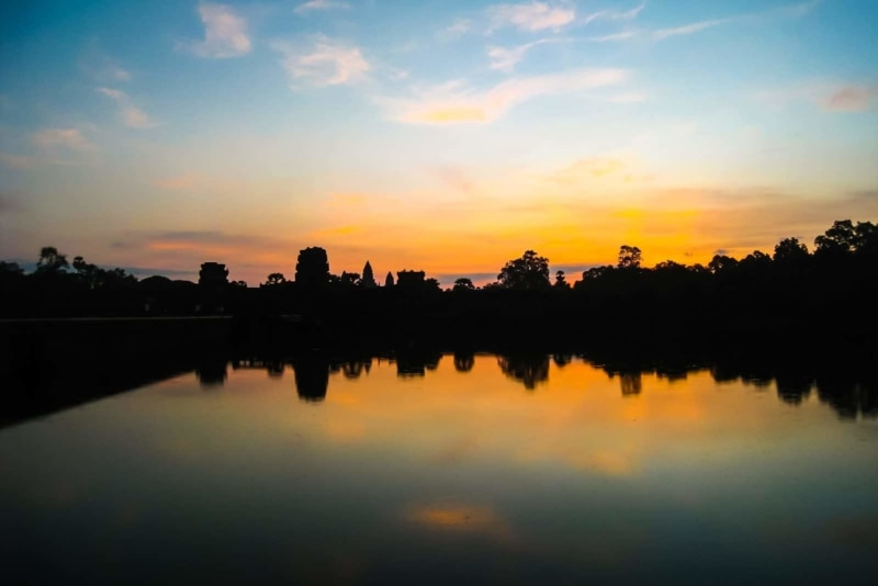 The famous sunrise at Angkor Wat.