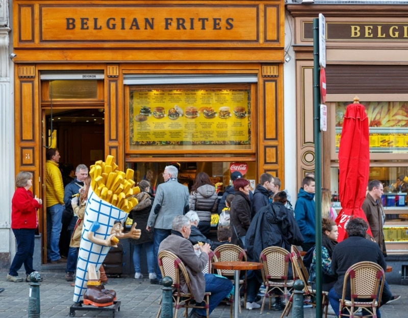 Belgian frites in downtown Brussels