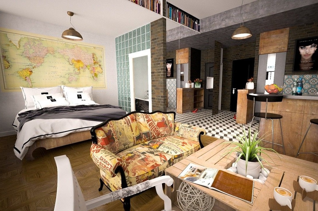 a cozy studio apartment with eccentric furnishings