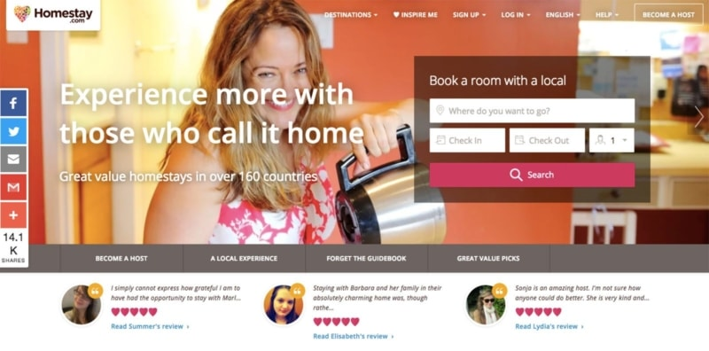 Homestay is one of many sites like Airbnb