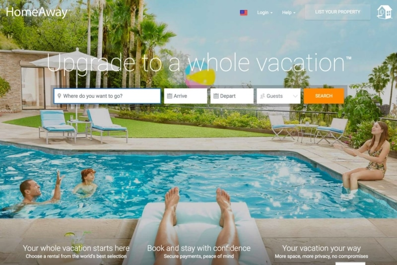 HomeAway is similar to Airbnb and one of their biggest competitors
