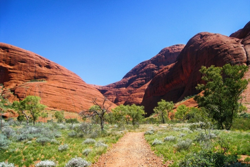 Entering Kata Tjuta in the outback of Australia