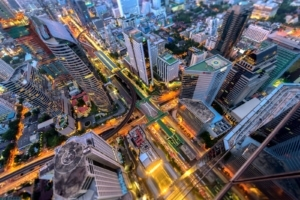Birds' eye view of Bangkok