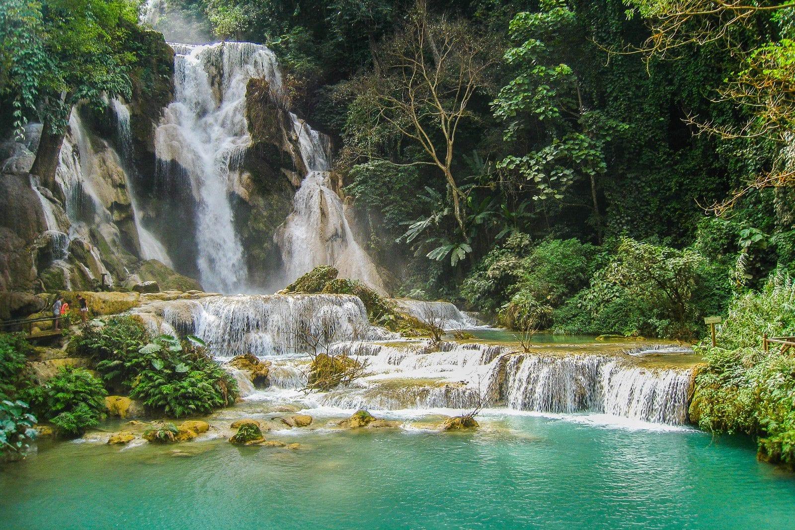 The stunning Kuang Si Falls in Luang Prabang, Laos