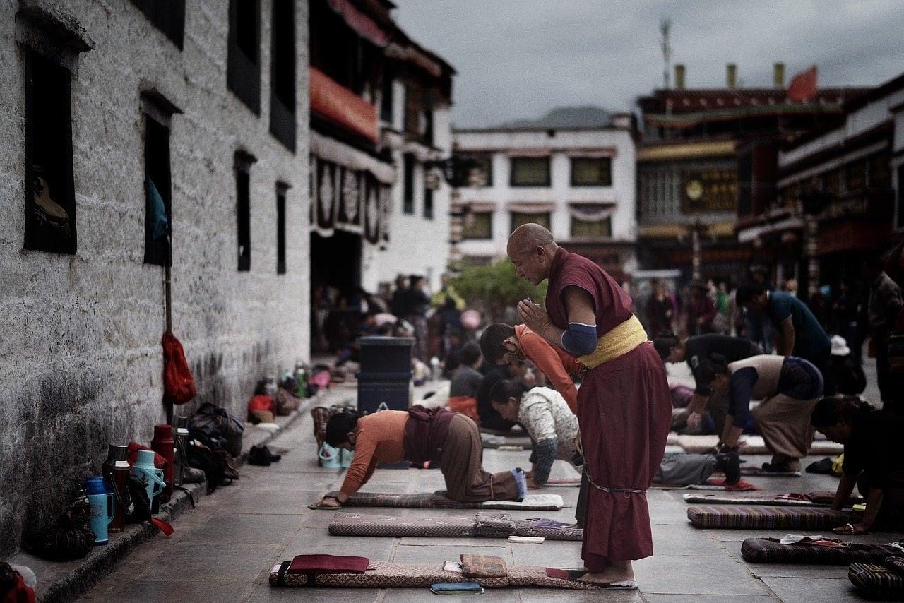 Prayers in a Tibetan Buddhist monastery