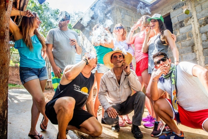 Smoking Cuban cigars with the crew