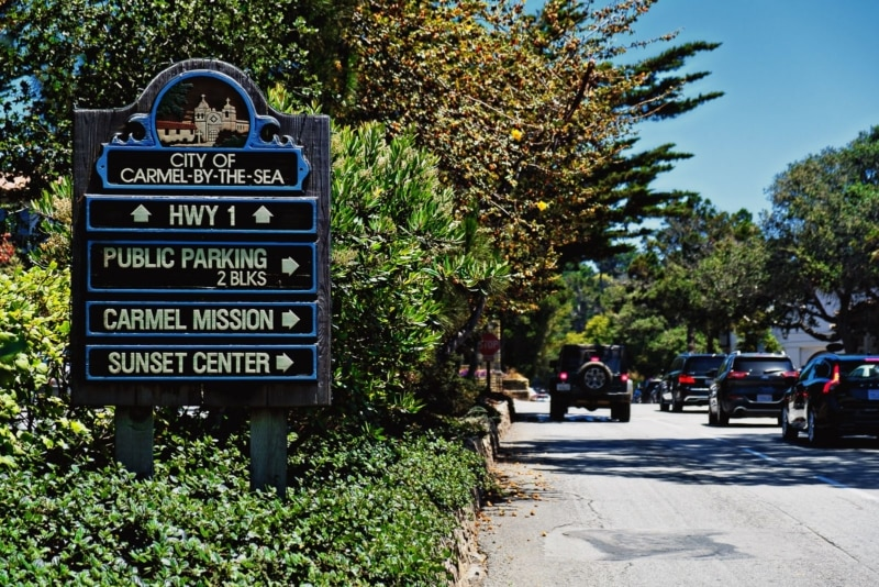 Route 1 in Carmel-By-The-Sea, a must-see town on any Pacific Coast Highway road trip