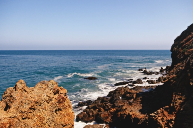 Craggy coastline in Malibu, California