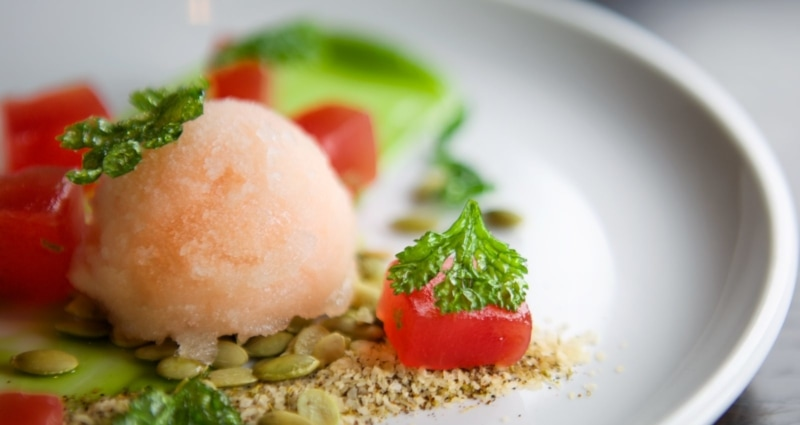 Compressed watermelon from Posana Restaurant in Asheville
