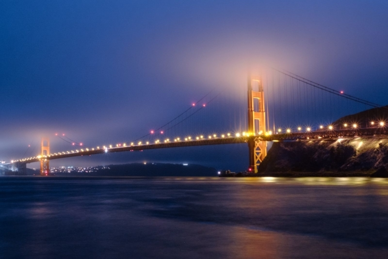 The Golden Gate Bridge by night—the start to many California road trips.