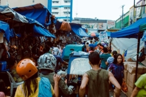 Culture shock in a market in Southeast Asia