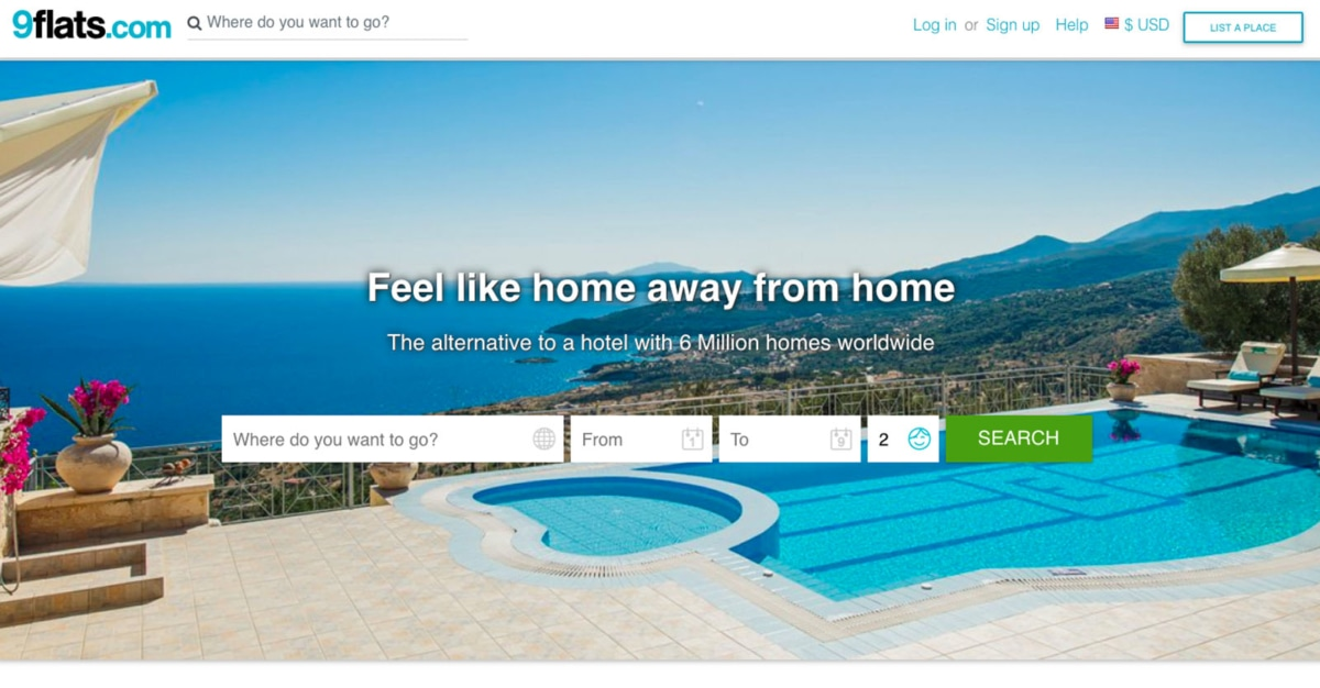 9flats website for booking accommodation.