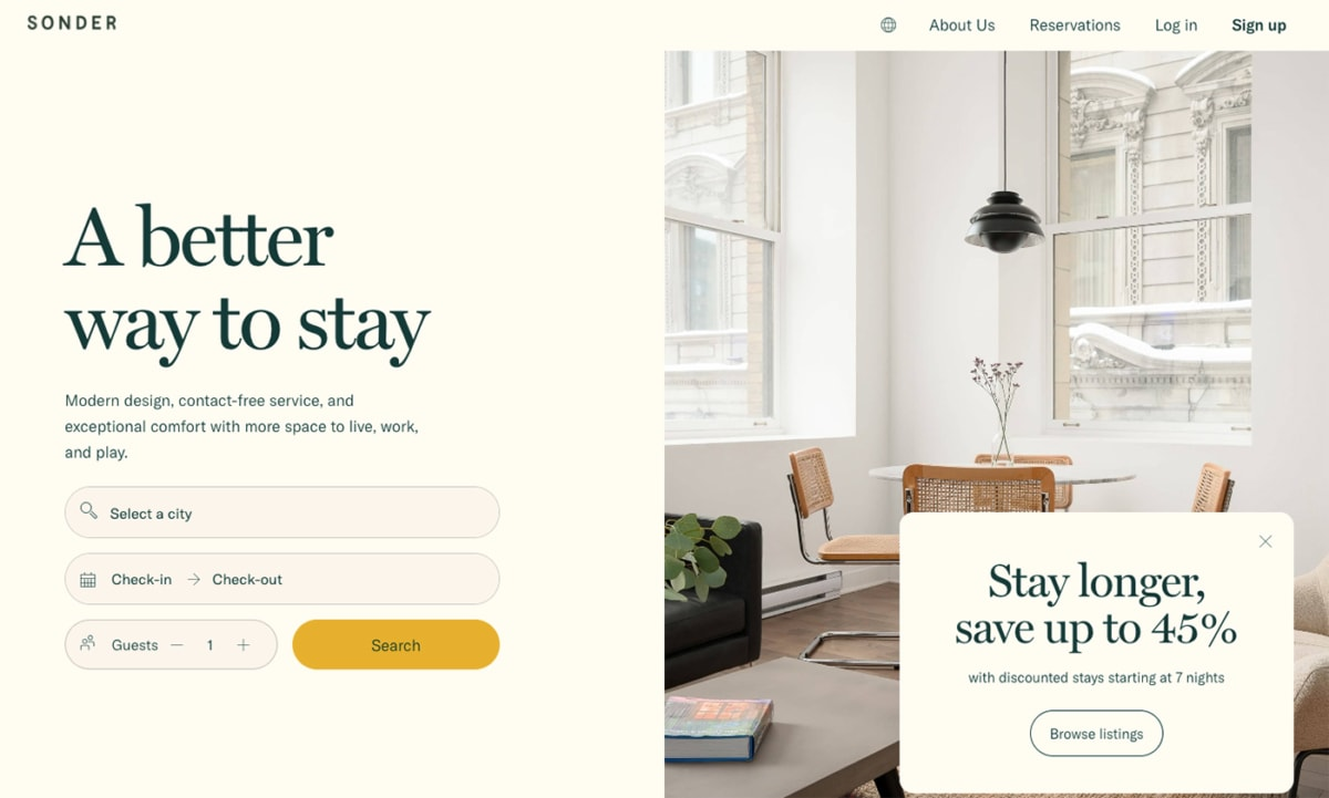 Sonder is for a hotel experience