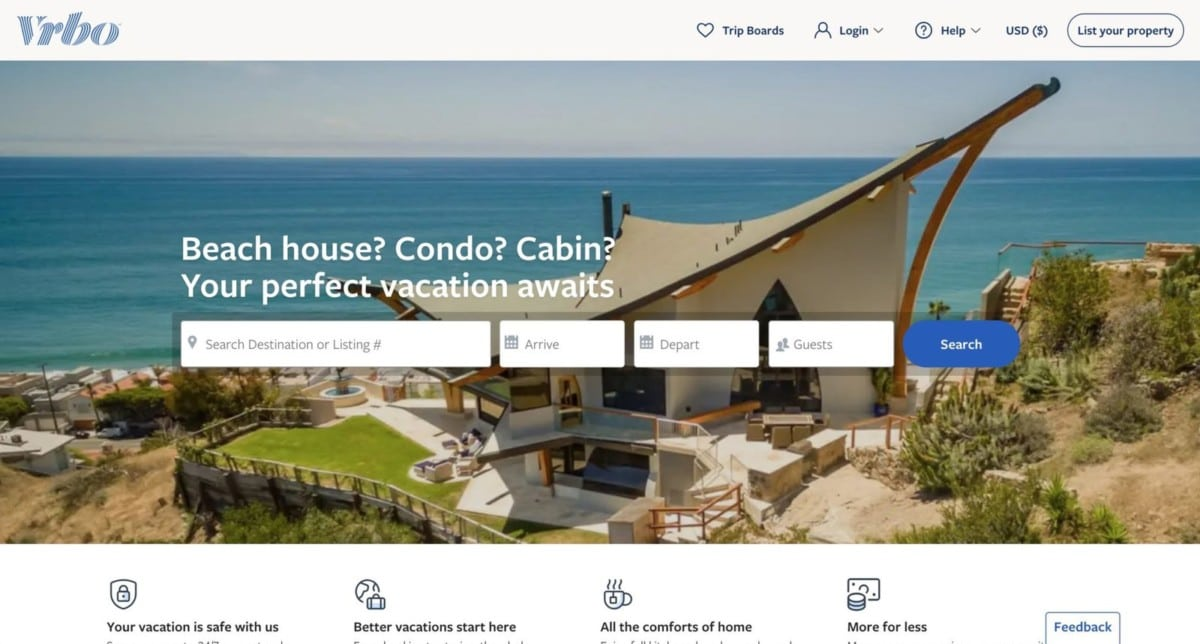 Vrbo is a website like Airbnb that's perfect for vacations with the kids