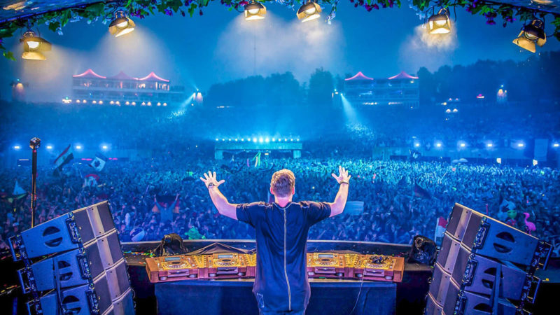 Watching Hardwell's set at Tomorrowland's summer music festival.