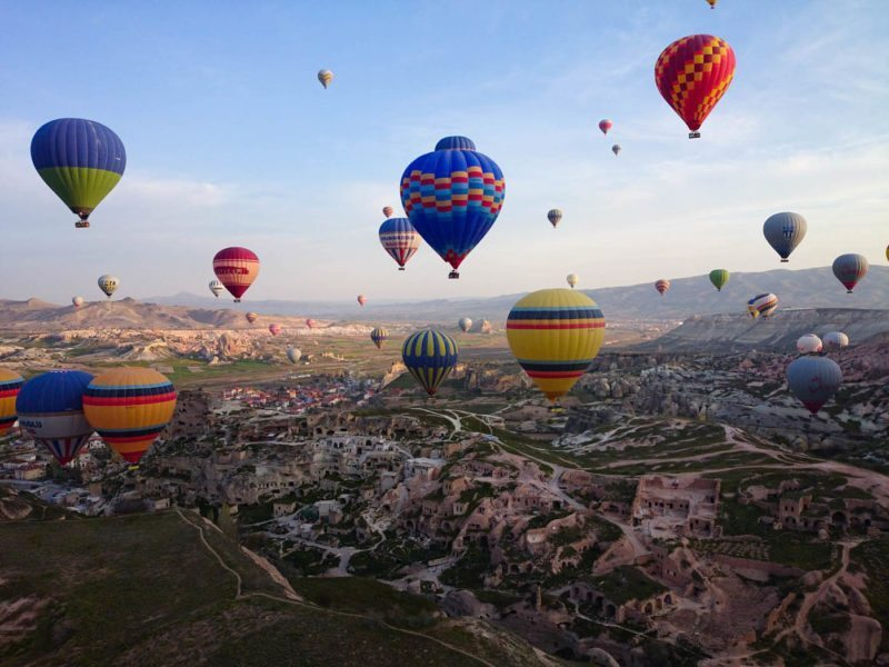 Riding in a hot air balloon in Cappadocia!