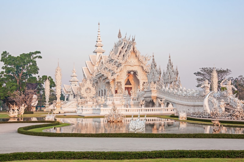White Temple (Wat Rong Khun) at sunrise. Chiang Rai.