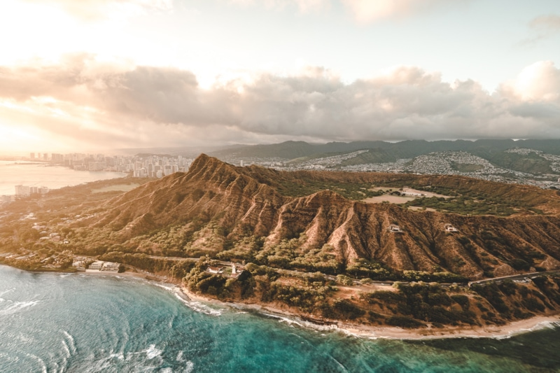 Diamond Head Oahu aerial shot
