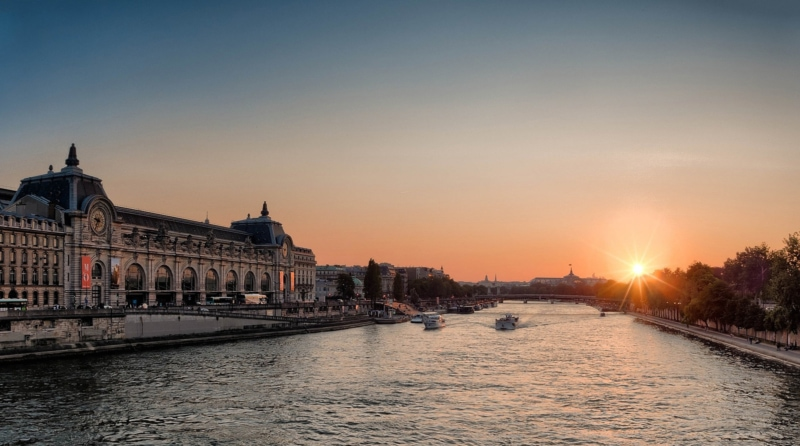 Sunset over the Seine River in Paris.