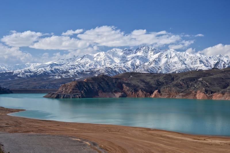 Snowy mountain views in Uzbekistan.