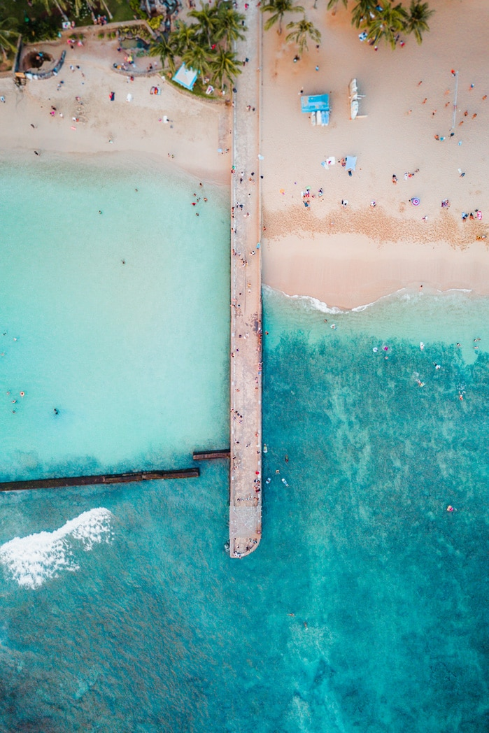 Hawaii beach aerial