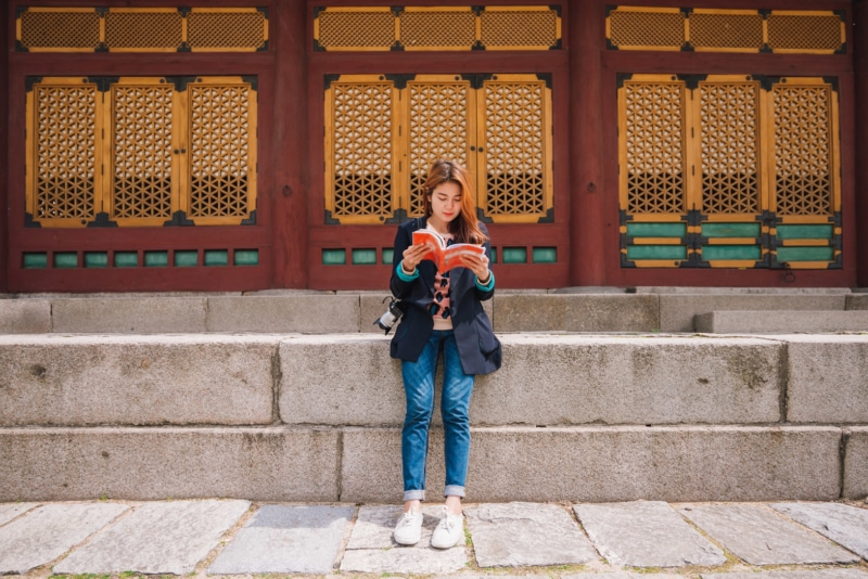 Woman reading in Korea