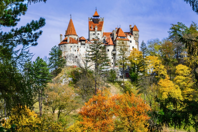 Fall landscape surrounding Bran Castle, Romania