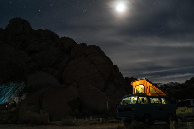 Fold-Down RV at night